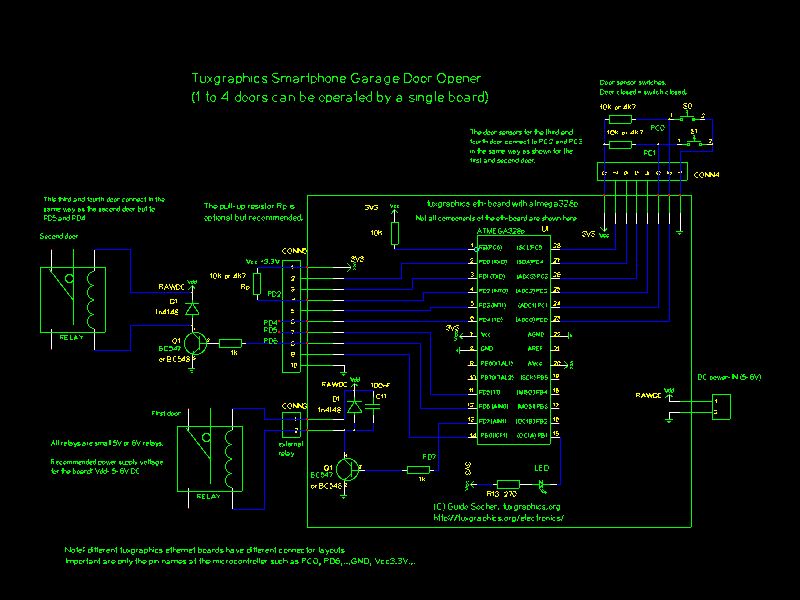 circuit diagram: relay and optional push button